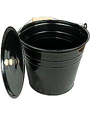 Zink emmer asemmer met deksel zwart, verschillende maten (12 liter), ideale haardaccessoires uitbreiding, emmer voor het bewaren van hete en koude as