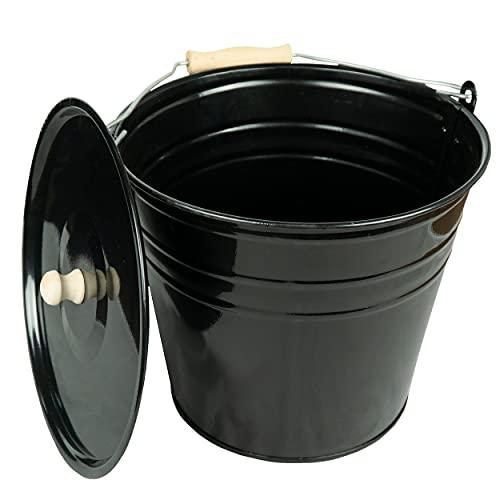 Zinkeimer Ascheeimer mit Deckel schwarz, verschiedene Größen (12 Liter), ideale Kamin Zubehör Erweiterung, Eimer zur Lagerung von heißer und kalter Asche