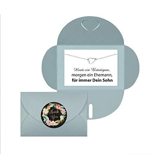 Lillyville - Brautmutter Geschenk mit Herz Armband Silber und Karte - Heute EIN Bräutigam, Morgen Ehemann - Hochzeit Armkette - Umschlag Hellblau