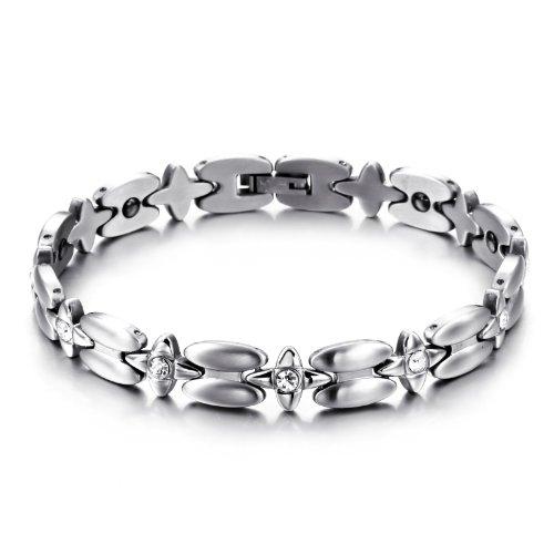 JewelryWe Schmuck Edelstahl Armband Magnetarmband Sternen Link Gesundheit Magnet Partnerarmbänder Damenarmband Armreif Silber, 20,5cm Breite 8,9mm