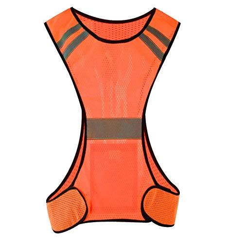 DAUERHAFT A Prueba de Sudor 200 Metros de Distancia Reflectante Chaleco de Seguridad Chaleco Reflectante para Deportes al Aire Libre Safty(Orange)