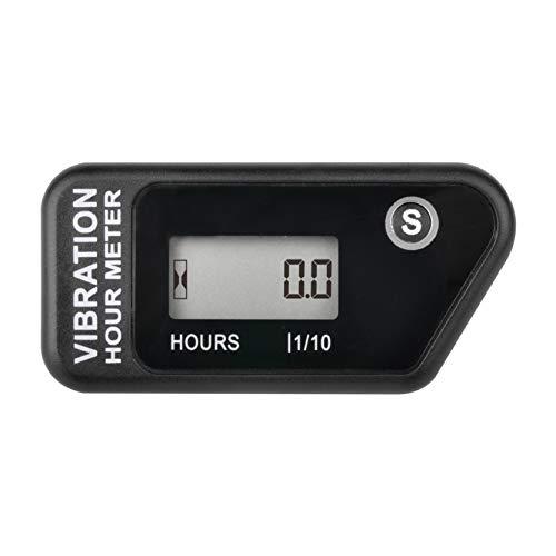 Compteur horaire sans fil auto-alimenté numérique Runleader, activation par vibration, minuterie de travail réinitialisable, arrêt du verrouillage de l'utilisateur, utilisation pour le(NOIR)