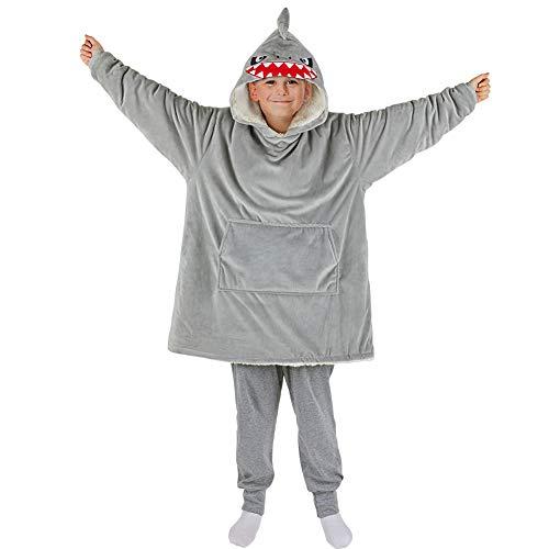 Basumee Hai Pullover Decke Kinder Oversize Hoodie Decke Sweatshirt Decke Kapuzen TV Kuscheldecke für Mädchen Jungen mit Ärmel und Tasche aus Polyester und Plüsch
