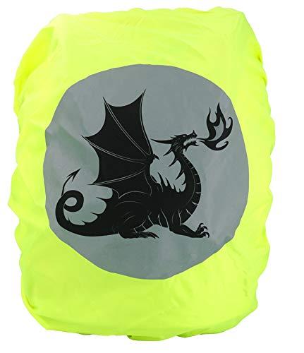 EANAGO Premium Schulranzen/Rucksack Regenschutz/Regenüberzug, ohne Nähte, 100% wasserdicht, mit Sicherheits-Reflektionsbild (Dragon)