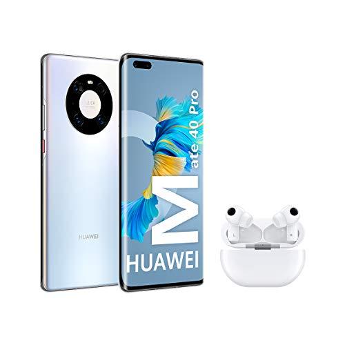 Huawei Mate 40 Pro Silver + FreeBuds Pro White - Smartphone con Pantalla Curva de 6.76', 8 GB + 256...