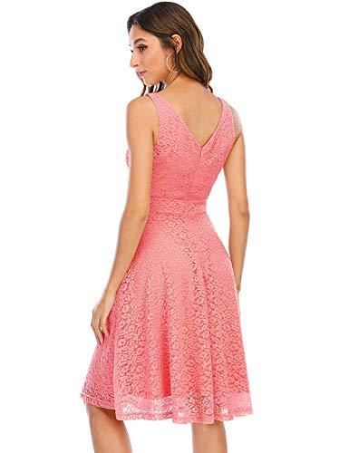 Kleid Damen Damen Kleider Abendkleider Gelb kurz Rockabilly Kleider Damen Vintage Kleid Kleid Hochzeit gast cocktailkleid festliches Kleid mädchen Coral XL