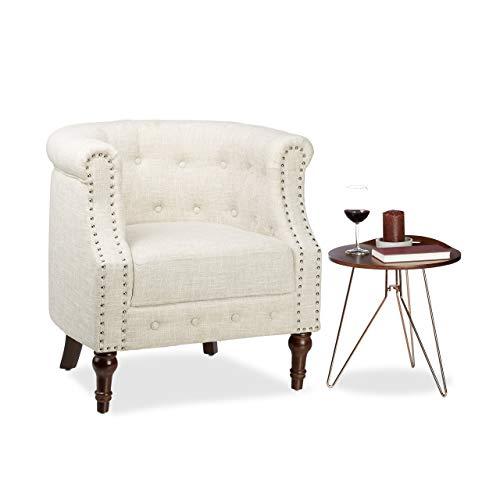 Relaxdays Retro Sessel, Chesterfield-Design, Stoffbezug, Nietenbesatz, bequemes Sitzpolster, HxBxT: 76x71x67cm, beige