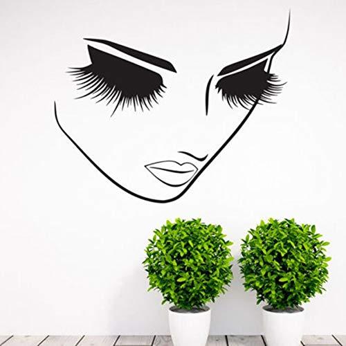 Pestañas Salón de belleza de vinilo calcomanías de pared pegatinas mujer mujer pestañas largas arte de la pared de pestañas Bar pestañas tienda de cosméticos decoración 57X40CM