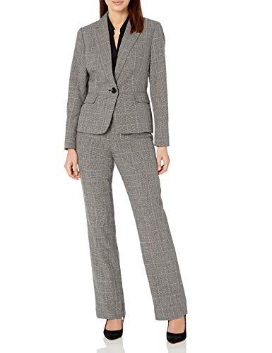 Le Suit Women's 1 Button Notch Collar Plaid Pant Suit, Black Multi, 10