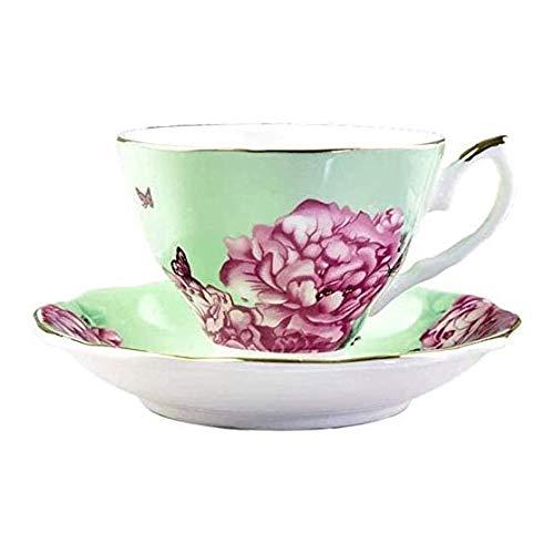 ZOUJIARUI Tazas de té y platillos, conjunto de 2 tazas de café, conjunto de tazas de té floral, tazas de té británicas, conjunto de té de porcelana de porcelana de porcelana, conjuntos de té para muje