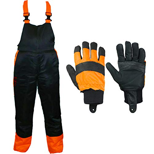 An image of the SPARES2GO Chainsaw Safety Bib & Brace (L) + Protective Gloves