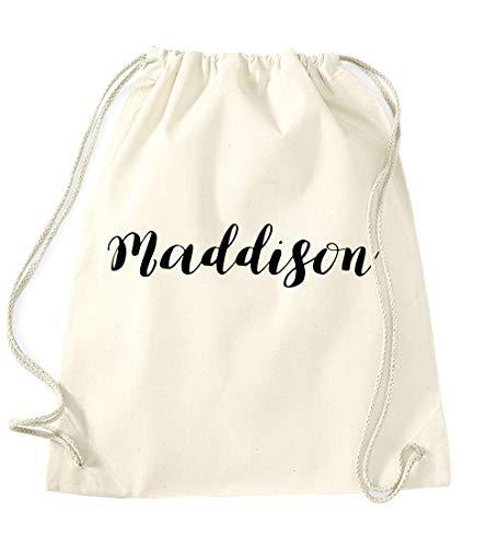 Daytripper Maddison Personalised Gym Bag School PE Kit In Natural Colour Black Print Birthdays Gymnastics Swimming Christmas