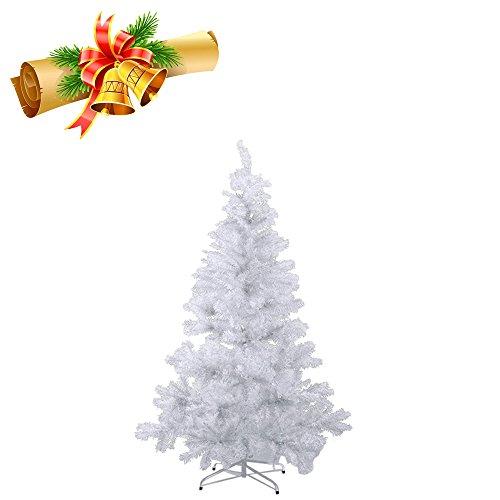 MCTECH 120cm PVC Festive Künstlicher Weihnachtsbaum Weiss Tannenbaum Weiß Christbaum Dekobaum mit Ständer (120cm)