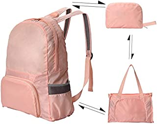 Bag Collapsible Travel Backpack Skin Pack Outdoor Sports Waterproof Lightweight Backpack Female Travel Bag Pink Pink 37 * 15 * 45cm