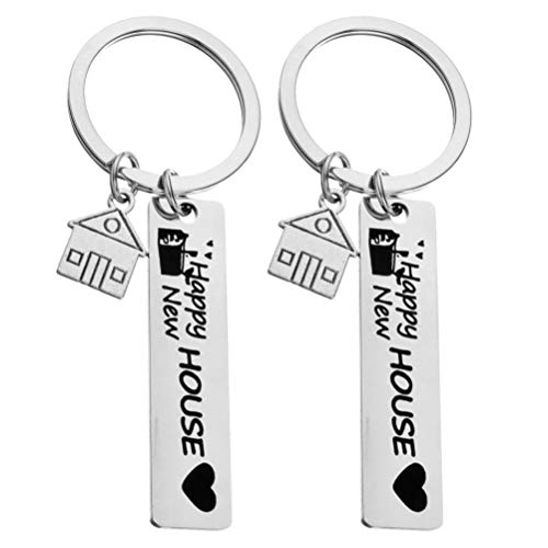 Amosfun 2pcs New House New Adventures Keychain Couple Keychain Housewarming Gift New Homeowner House Keyring First Home Present For Husband and Wife