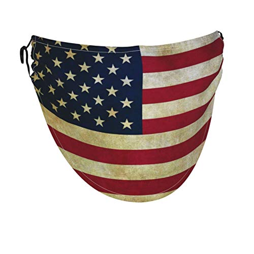 N\ A Vintage Retro American Flag USA Big Face Mask Bandanas Cooling Breathable Fabric Face Cover XL for Women Men Adult, Adjustable, Fashion