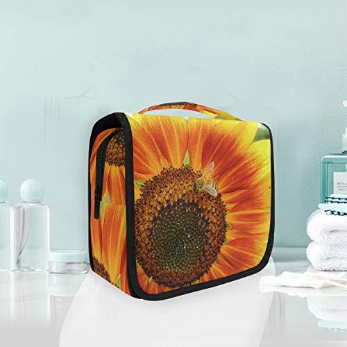 Sunflower Bee Summer Nature Trousse de Toilette de Voyage à Suspendre pour Femme et Fille
