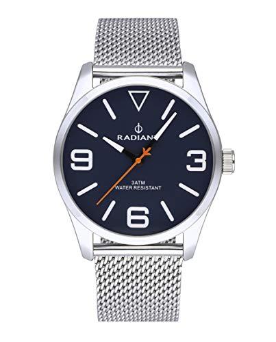 Reloj analógico para Hombre de Radiant. Colección Darth. Reloj Plateado con Malla milanesa y Esfera Azul. 3ATM. 42mm. Referencia RA533203.