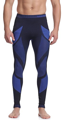 Ladeheid Herren Funktionsunterwäsche Lange Unterhose Thermoaktiv (Schwarz/Navyblau, L)