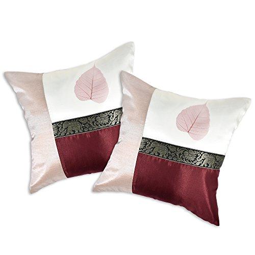 AeraVida Wine Elephant Stripe Real Leaf Silk Throw Pillow Cushion Cover Set (Red)