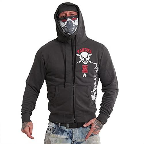 Yakuza Herren Duel The Clown Ninja Zip Hoodie Kapuzenjacke, Black Ink, L