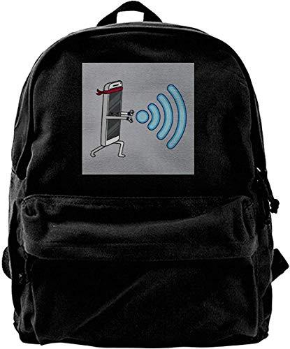 Homebe Mochila antirrobo Impermeable,Canvas Backpack Wifaduken WiFi Smark Phone Hadouken RYU Street Fighter Rucksack Gym Hiking Laptop Shoulder Bag Daypack for Men Women