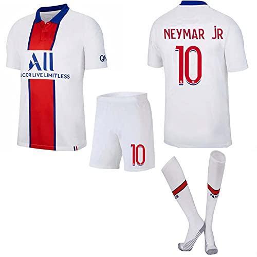 GJMQQ Paris Domicile/Extérieur 20/21 Mbappé # 7 Neymar # 10 Maillot Adulte et Enfant Ensemble Maillot Entraînement de Football (Blanc)