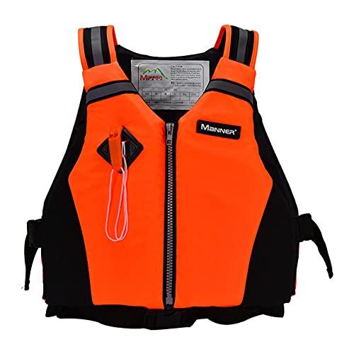 Chaleco De Natación Para Adultos Bañador De Seguridad Chaleco Salvavidas Con Correa De Seguridad Ajustable Y Bolsa De Almacenamiento Para Kayak, Pesca, Natación, Deportes Acuáticos,Naranja,110~210lbs