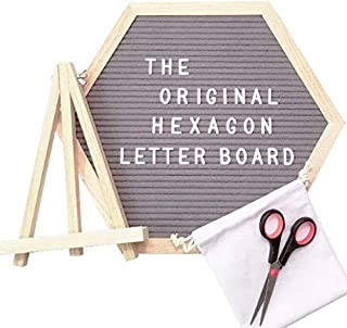 The Original Hexagon Felt Letter Board, 12 Inch x 14 Inch: Includes 360 Letters, Numbers & Characters and Free Wall Mounting Hook, Wood Easel Stand, Multi-Use Scissors, and Canvas Bag (Gray)