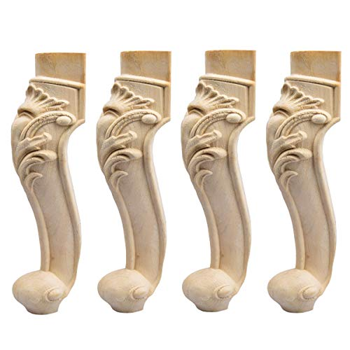 11 inch / 28cm Wooden Furniture Legs, La Vane Set of 4 European Style Solid Wood Carving Furniture Replacement Feet Decoration for Sofa Cabinet Wardrobe Table Loveseat
