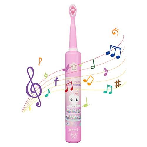 HELEVIA Elektrische Zahnbürste für Kinder, Wiederaufladbare Musik Schallzahnbürste mit 2 Bürstenköpfe 2 Minuten Timer USB Musik elektrische Zahnbürste für 3-12 Jahre alte Kinder
