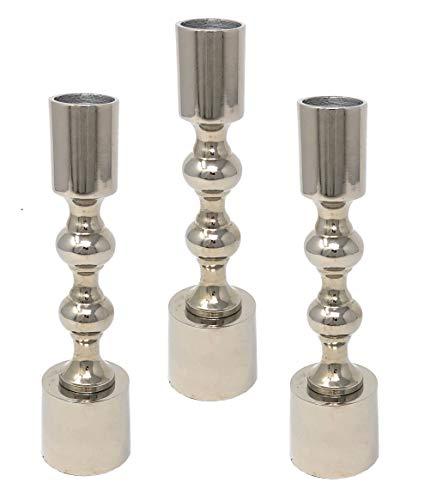Marzoon Metall Kerzenleuchter im Set Kerzenständer Stabkerzenhalter in schlanker und 16,5cm hohen Form mit rundem Fuß (3 x Silber)