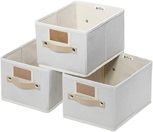 Foldable Storage Bins Set of 3 Rectangle Storage Basket Sturdy Storage Basket with Lables Decorative product image