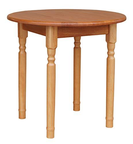 koma Runder Kiefer Tisch Esstisch Holz Küchentisch massiv Honig Landhausstil (Alder)