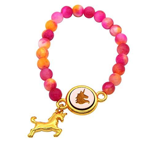 Kauf-mich-weg Kinder Armband Jadeperlen Pink mit Einhorn Holzcabochon und Einhorn-Anhänger Gold Elastik-Armband flexibel Perlenarmband Mädchen