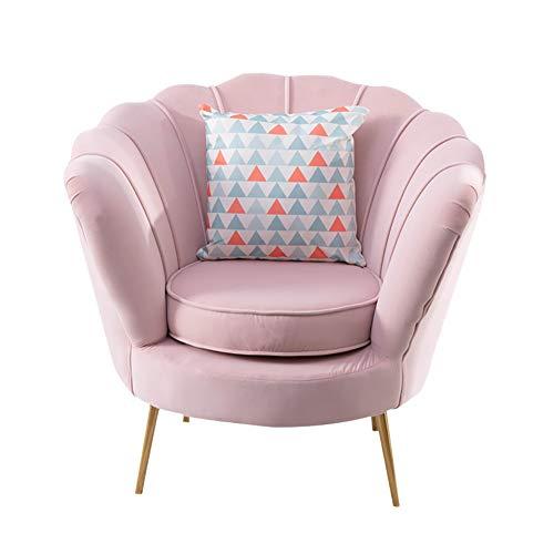 HUAYIN Velvet Accent Chair, getuftete gepolsterte Sofastühle Bequemes Einzelsofa Club-Sessel mit hoher Rückenlehne und Taillenkissen für den Lesesessel im Schlafzimmer,Rosa