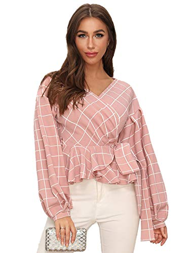 Verdusa Damen Bluse mit V-Ausschnitt, Laternenärmel, Rüschen, Plaid-Schößchen -  Pink -  X-Klein