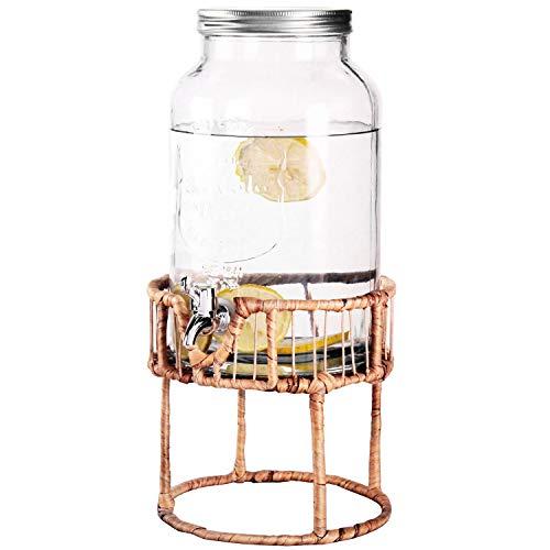 Distributore di bevande, 5,5 litri, Ø 18 x H 30 cm, con rubinetto e supporto, dispenser di succhi di frutta, bottiglia di vetro