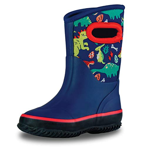 LONECONE Insulating All Weather MudBoots for Toddlers and Kids - Warm Neoprene Boots for Snow, Rain, and Muck - Puddle-a-Saurus Dinosaur, 3 Little Kid
