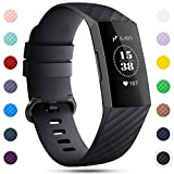 Onedream Correa Compatible para Fitbit Charge 3 Pulsera/Charge 4 Correa Mujer Hombre Recambio Sport Strap Noir,S