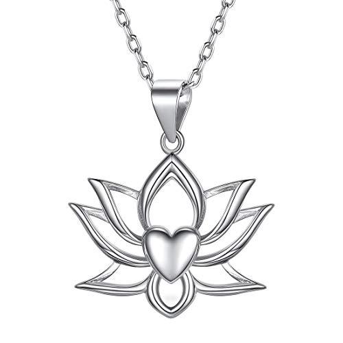 ChicSilver Loto Flores Flotantes Corazón Colgante Hueco Plata de Ley 925 Oro Blanco Collar Hindú Yoga Budista Joyería Religión Moderna Muchachas