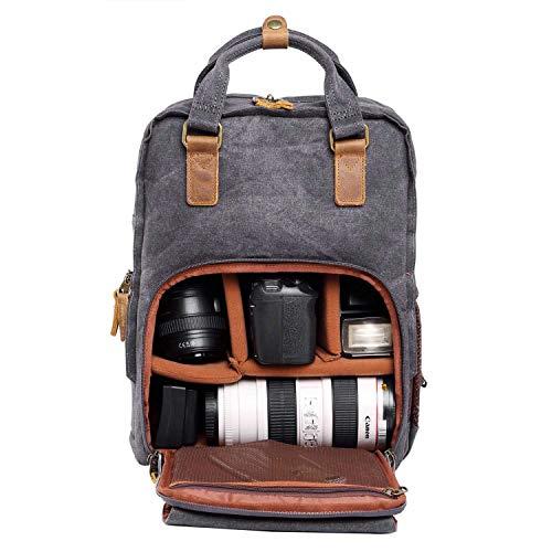 Neuleben Kamerarucksack Fotorucksack mit Laptopfach Zubehörfach Regenschutzhülle Vintage Rucksack für DSLR, Kamera, Zubehör (Dunkelgrau)