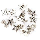 30 ensembles vis en alliage de Zinc étoile Rivets 14mm étoiles goujons et pointes métal cuir-artisanat bricolage pour chaussures sacs vêtements décoration(Argent))