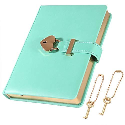 cofumi 日記帳 鍵付き 手帳 B6 横罫8mm 予備鍵 PUレザーカバー おしゃれ ギフト 女の子 (グリーン)