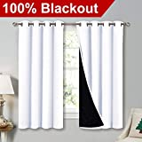 NICETOWN White 100% Blackout Lined Curtains, 2 Thick Layers Completely Blackout Window Treatment Thermal...