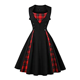 Axoe Women 1950s Dresses Vintage with Buttons