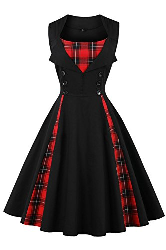 Axoe Damen 50er Jahre Cocktailkleid Rockabilly Elegantes Faltenrock Festliches Partykleider Vintage Kleid Audrey Hepburn Abendkleider mit Polka Dots Knielang, Schwarz, 4XL (50 EU)