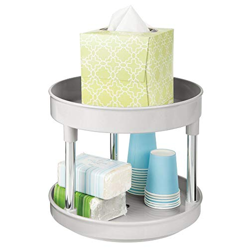 """mDesign Plastic Spinning 2 Level Lazy Susan Turntable Storage Tray - Raised Edge, Rotating Organizer for Bathroom Vanity Counter Tops, Under Sink, Closets, Dressers - 9"""" Round - Light Gray/Chrome"""