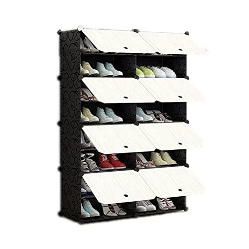 OMKMNOE Estantería modular de múltiples capas para zapatos, estantes multiusos, color negro, para montaje en el hogar, zapatero, fácil combinación, caja de almacenamiento, color negro, 8 etc