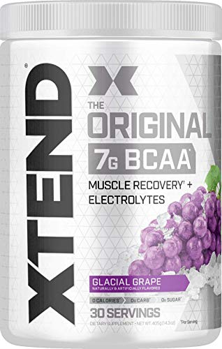 XTEND Original BCAA Powder Glacial Grape   Sugar Free Post Workout Muscle Recovery Drink with Amino Acids   7g BCAAs for Men & Women  30 Servings